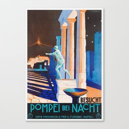 Pompei at Night - Vintage German Travel Ad Canvas Print