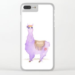 Hippie Llama Clear iPhone Case