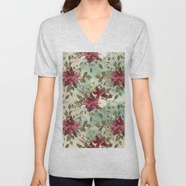 Hand painted burgundy white green watercolor floral Unisex V-Neck