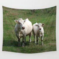 cows Wall Tapestries featuring White Cows by BACK to THE ROOTS