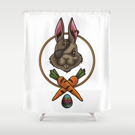 Easter Bunny Pirate | Happy Easter Colored Eggs Shower Curtain