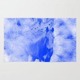 Blue pegasus in mysterious mandala landscape Rug