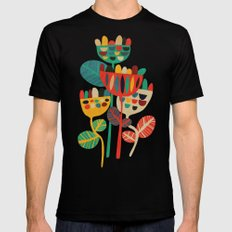 Wild Flowers MEDIUM Mens Fitted Tee Black