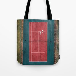 Tennis court, view of drone Tote Bag