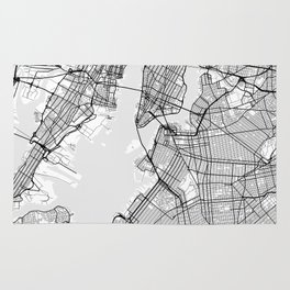 Scandinavian map of New York City in grayscale Rug