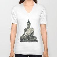 buddah V-neck T-shirts featuring Buddah by Hollie B