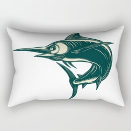 Blue Marlin Jump Scratchboard Rectangular Pillow