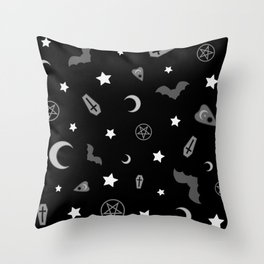 goth occult pattern Throw Pillow