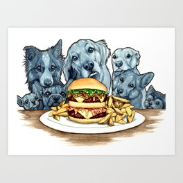 Burger Dogs Art Print