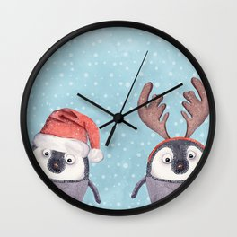 CHRISTMAS PENGUINS Wall Clock