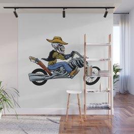 skull ride a big motorcycle Wall Mural
