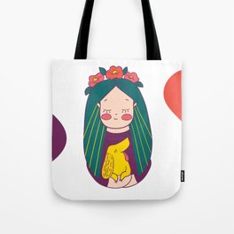 Green haired Girl & Yellow Dog Tote Bag