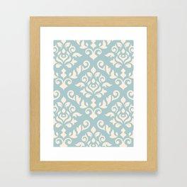 Damask Baroque Pattern Cream on Blue Framed Art Print