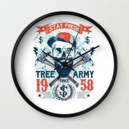 Stay Fresh Tree Army Vintage Skull Wall Clock