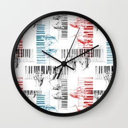 A piano pattern in black/red/blue Wall Clock
