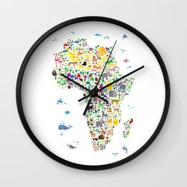 Animal Map of Africa for children and kids Wall Clock
