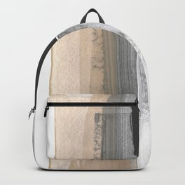 Beige and Grey Colorblock Textured Abstract Painting Backpack