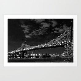 Queensborough Bridge at night. Black and white photography Art Print