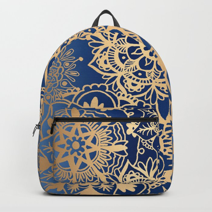 Blue and Gold Mandala Pattern Backpack