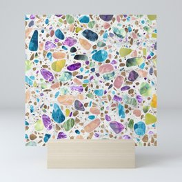 Terrazzo - Mosaic - Gemstones and Gold Mini Art Print