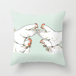 Chicken Fight Throw Pillow