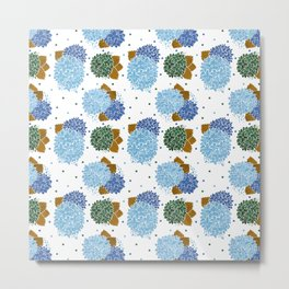 Blue green watercolor hydrangea flowers polka dots Metal Print