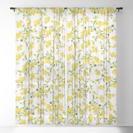 Yellow Flower Pattern #1 #spring #floral #decor #art #society6 Sheer Curtain