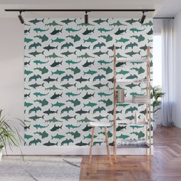 Green Sharks Wall Mural