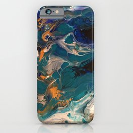 Teal & Gold Pour iPhone Case