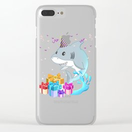 Funny Shark Cartoon With Birthday Hat Gift Idea T-Shirt Clear iPhone Case