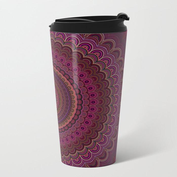 Dark purple mandala Metal Travel Mug
