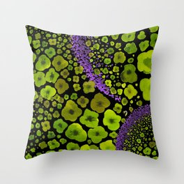 Paths of Color [green & purple] Throw Pillow