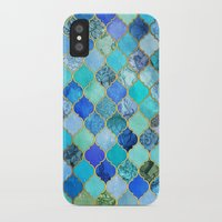 india iPhone & iPod Cases featuring Cobalt Blue, Aqua & Gold Decorative Moroccan Tile Pattern by micklyn