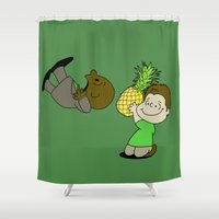 psych Shower Curtains featuring Psych! (Green Version) by AriesNamarie