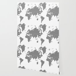 Minimalist World Map Gray on White Background Wallpaper