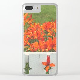 White Picket Fence / Daylilies / Flowers Clear iPhone Case
