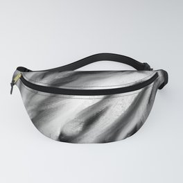 White Chalk on Black Abstract Fanny Pack