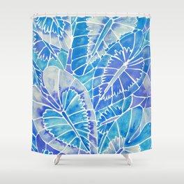 Schismatoglottis Calyptrata – Blue Palette Shower Curtain