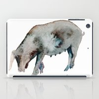 pig iPad Cases featuring Pig by Elena Sandovici
