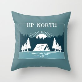 UP NORTH, camping Throw Pillow