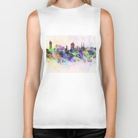 vienna Biker Tanks featuring Vienna skyline in watercolor background by Paulrommer