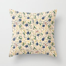 Pale Ditsy Rose Meadow Floral Pattern Throw Pillow