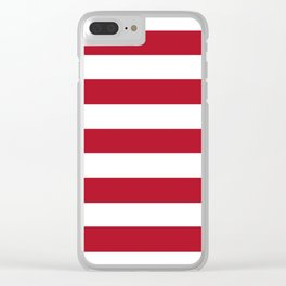 Wine red - solid color - white stripes pattern Clear iPhone Case