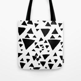 Black white hand painted geometric triangles Tote Bag