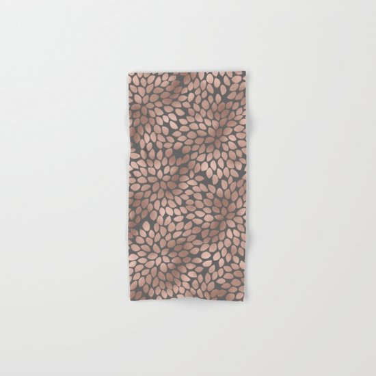 Rosegold flowers- abstract floral elegant pattern on grey backround Hand & Bath Towel