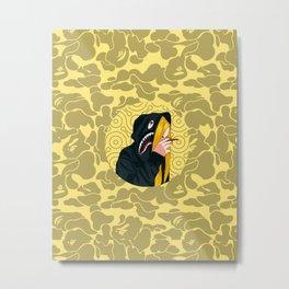 Bape Smoking Girl Yellow Metal Print