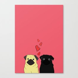 Pugs In Love Pink Canvas Print