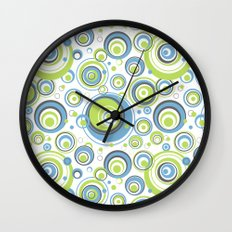 Scrambled Circles Blue/Green Wall Clock