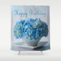 hydrangea Shower Curtains featuring Hydrangea by Fine Art by Rina