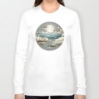 the moon Long Sleeve T-shirts featuring Ocean Meets Sky by Terry Fan